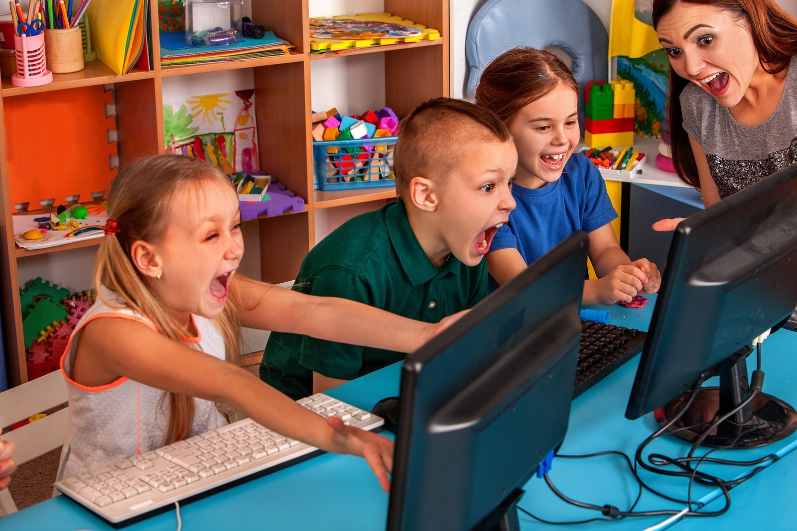 Children computer class us for education and video game